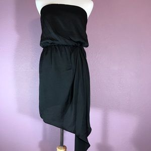Express Asymmetric Hem Black Strapless Dress • XS